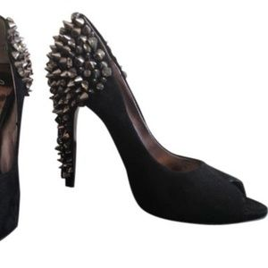 Sam Edelman black suede studded peep-toe heels 7